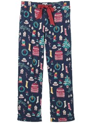 Fat Face Christmas Clutter Classic Pyjama Bottoms Navy