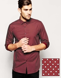 Asos Smart Shirt In Long Sleeve With Contrast Polka Dot Burgundy