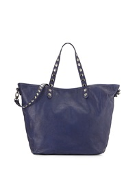 Isabella Fiore Martillado Studded Leather Tote Bag Blue
