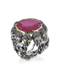 Bernard Delettrez Skulls And Snakes Black Ring W Glass Treated Ruby