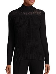 Elie Tahari Claire Rib Knit Turtleneck Sweater Black