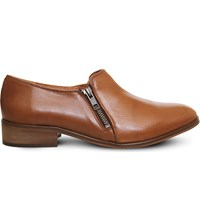 Office Lex Double Zip Leather Loafers Tan Leather