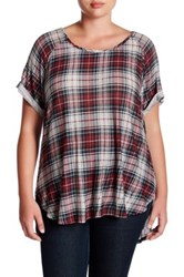 Want And Need Double Scoop Plaid Tee Plus Size Red