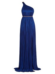 Maria Lucia Hohan Silk Tulle Pleated Gown Blue