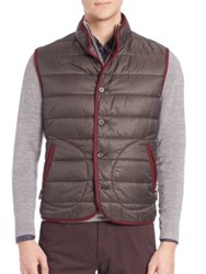 Saks Fifth Avenue Quilted Sleeveless Moto Jacket Bluebrown Brownberry