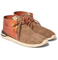 Visvim Huron Leather And Suede Sneakers Camel