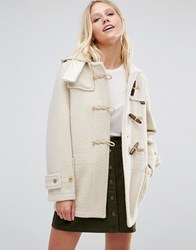 Gloverall Mid Monty Coat In Arctic White Arctic White