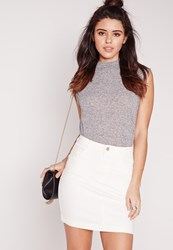 Missguided Denim Super Stretch Mini Skirt White White