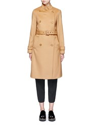 Vince Double Breasted Wool Cashmere Trench Coat Neutral