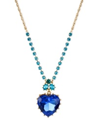 Betsey Johnson Gold Tone Blue Crystal Heart Pendant Necklace