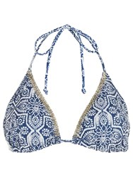 Accessorize Alessano Tile Print Triangle Bikini Top Blue