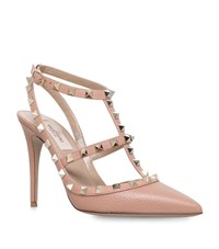Valentino Rockstud Leather Pumps 100 Female Camel