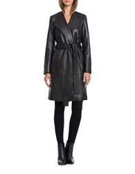 Bagatelle The Robe Naked Lamb Leather Belted Coat Black