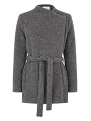 Bzr Shessa Brushed Wool Blend Coat Grey
