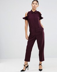 Asos Shirt Jumpsuit With Cold Shoulder Ruffle Sleeve Berry Red
