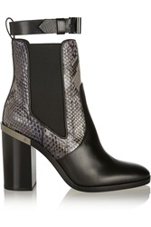 Reed Krakoff Python Trimmed Leather Chelsea Boots Black