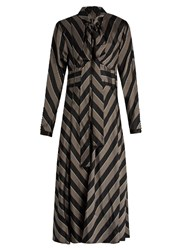 Marc Jacobs Tie Neck Striped Satin Midi Dress Black Grey