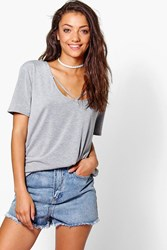 Boohoo Daisy Neck Strap Detail T Shirt Grey Marl