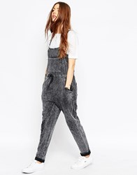 Asos Dungaree In Acid Wash Grey