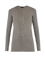Atm Anthony Thomas Melillo Long Sleeved Henley Top Light Grey