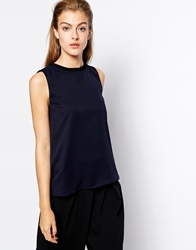 Mango Sleeveless Rib Collar Top Navy