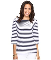 Lilly Pulitzer Waverly Top Bright Navy Serene Stripe Women's Clothing