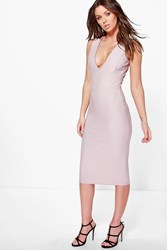 Boohoo Textured Plunge Neck Midi Bodycon Dress Mauve
