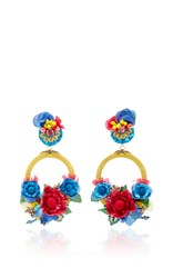 Ranjana Khan Multi Large Floral Drop Earrings Blue Red Yellow