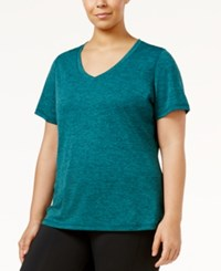 Ideology Plus Size Essential V Neck Performance T Shirt Only At Macy's Moonlight Teal