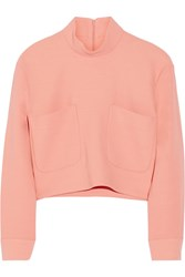 Issa Joy Cropped Wool Blend Crepe Turtleneck Top Pink