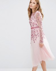 Maya Embellished Fit And Flare Midi Dress Pink