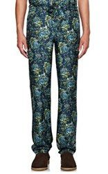 Burberry X Barneys New York Men's Floral Print Silk Pajama Trousers Turquoise
