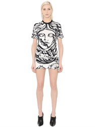Versace Printed Jersey Dress W Back Zip Detail