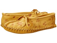 Manitobah Mukluks Deerskin Slipper Floral Design Tan Women's Slippers