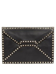 Valentino Rockstud Leather Envelope Clutch Black