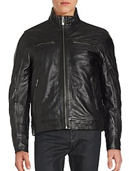 Rogue Mockneck Leather Zipper Jacket Black