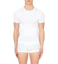 Spanx Light Compression Stretch Cotton T Shirt White