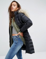 Tommy Hilfiger Denim Longline Padded Jacket With Faux Fur Trimmed Hood Black