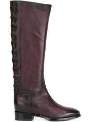 Santoni Laced Detail Knee Boots Brown