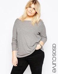 Asos Curve Top With Off Shoulder Detail In Slouchy Fabric Grey