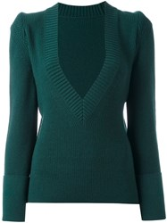 Sacai V Neck Jumper Green