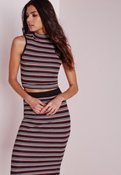 Missguided Glitter Stripe High Neck Crop Top Purple Purple
