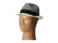 Vince Camuto Patterned Straw Fedora White Fedora Hats