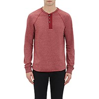 Vince. Men's Raglan Sleeve Henley Red