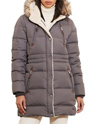 Lauren Ralph Lauren Faux Fur Trimmed And Sherpa Lined Parka Grey