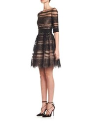 Carolina Herrera Metallic Lace Cocktail Dress Black Beige