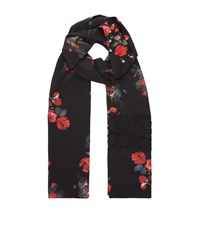 Dolce And Gabbana Lace Insert Floral Scarf Female Black