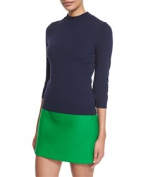 Milly Mod Mock Neck Pullover Top Navy