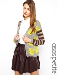 Asos Petite Exclusive Owl Cardigan With Striped Sleeves Multi
