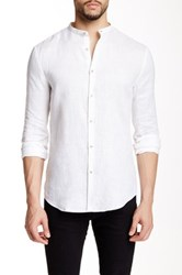 Star Usa By John Varvatos Banded Collar Long Sleeve Shirt White